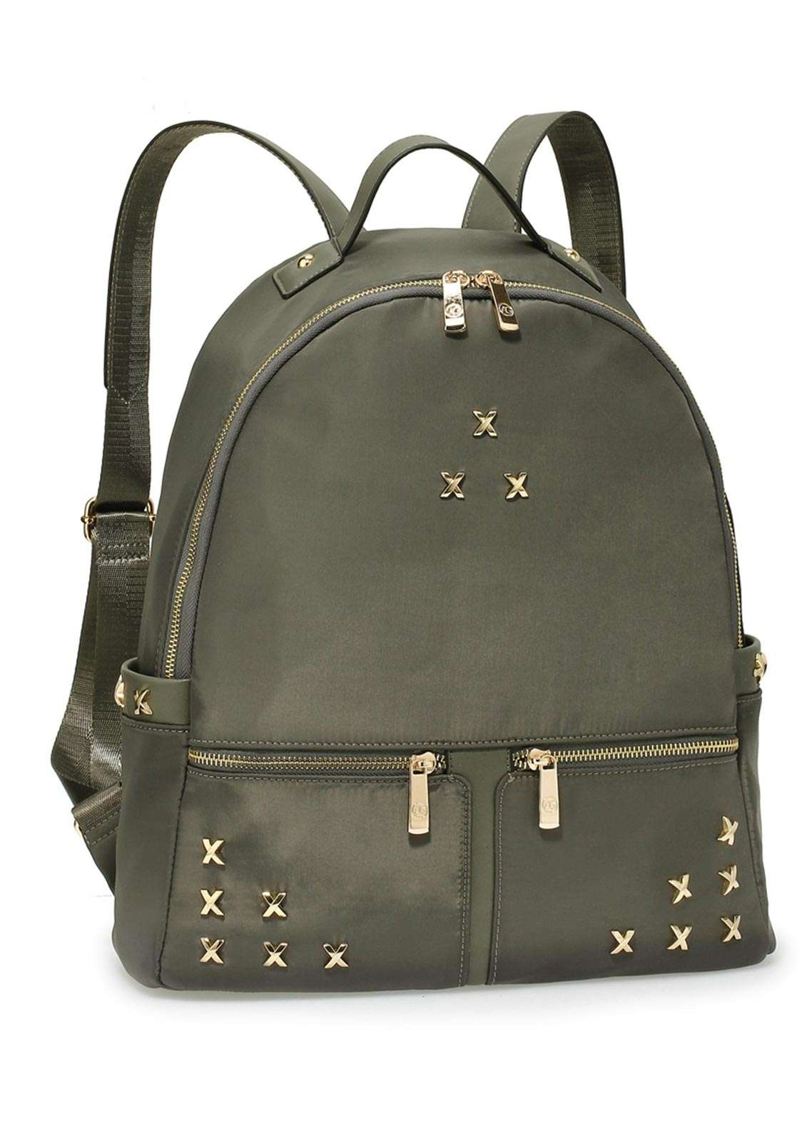 Anna Grace London Satin Backpack Bags  for Women  Grey with Shiny Texture