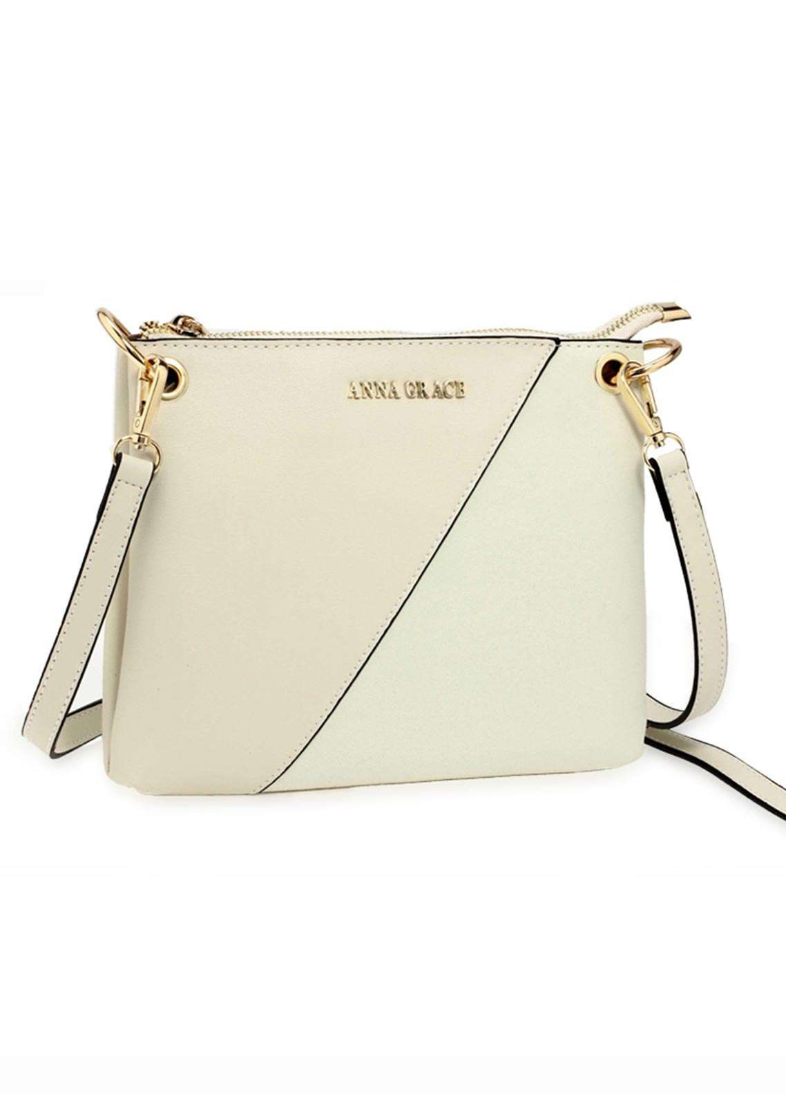 Anna Grace London Faux Leather Crossbody  Bags  for Women  Nude with Smooth Texture