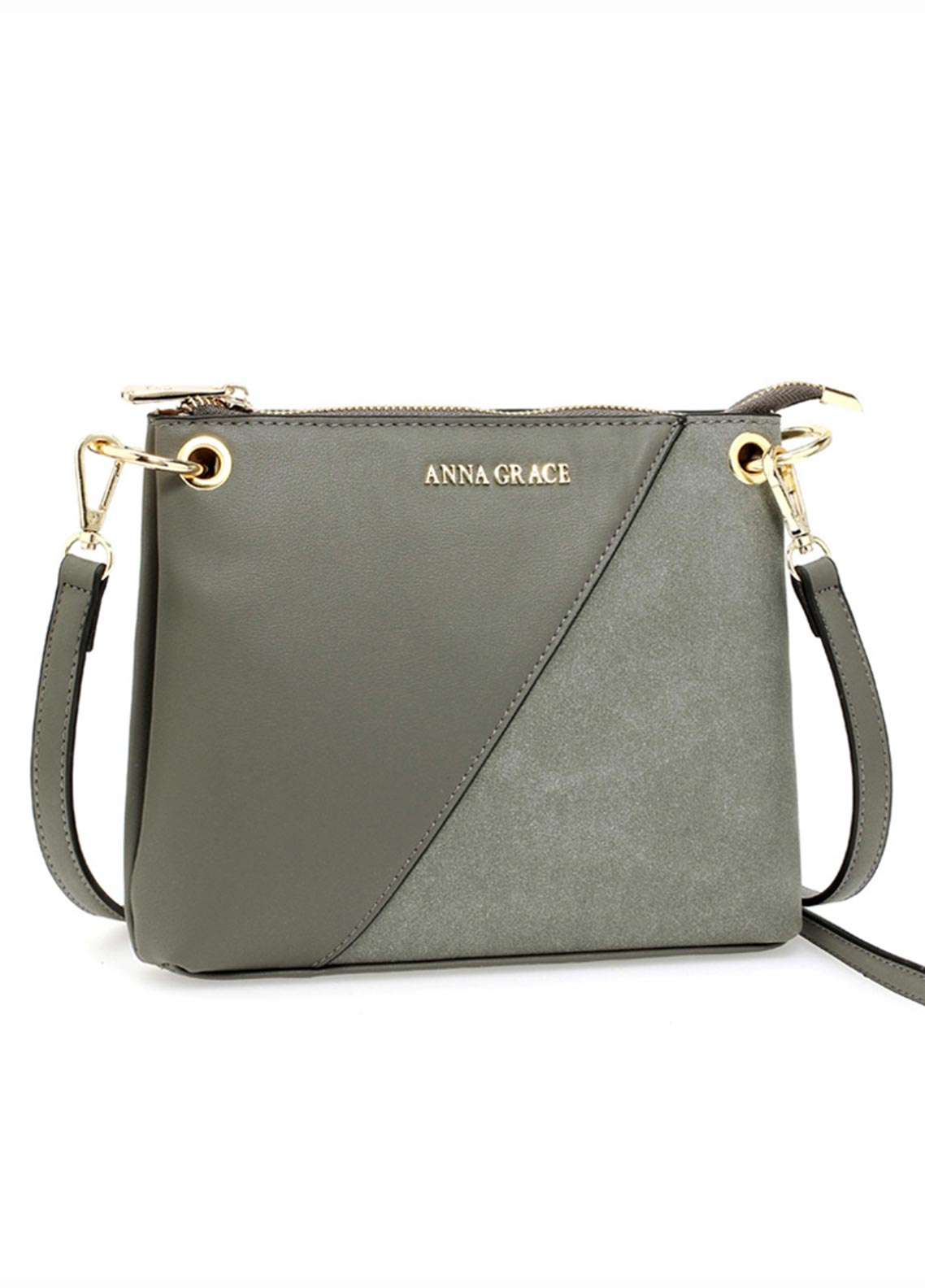 Anna Grace London Faux Leather Crossbody  Bags  for Women  Grey with Smooth Texture