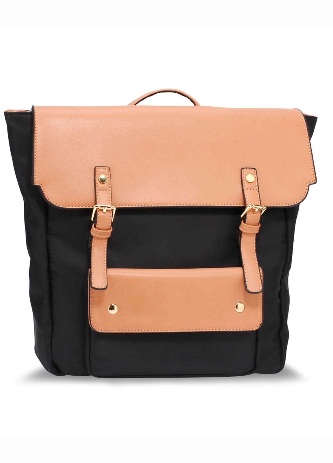 Anna Grace London Faux Leather Backpack Bags  for Women  Nude with Smooth Texture