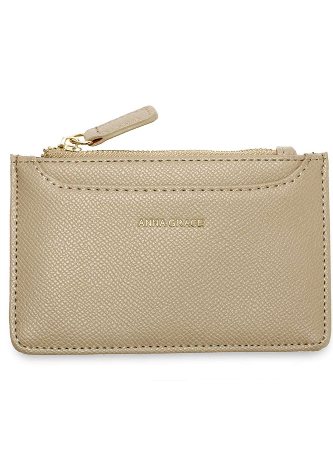 Anna Grace London Faux Leather Pouch   for Women  Nude with Rugged Texture