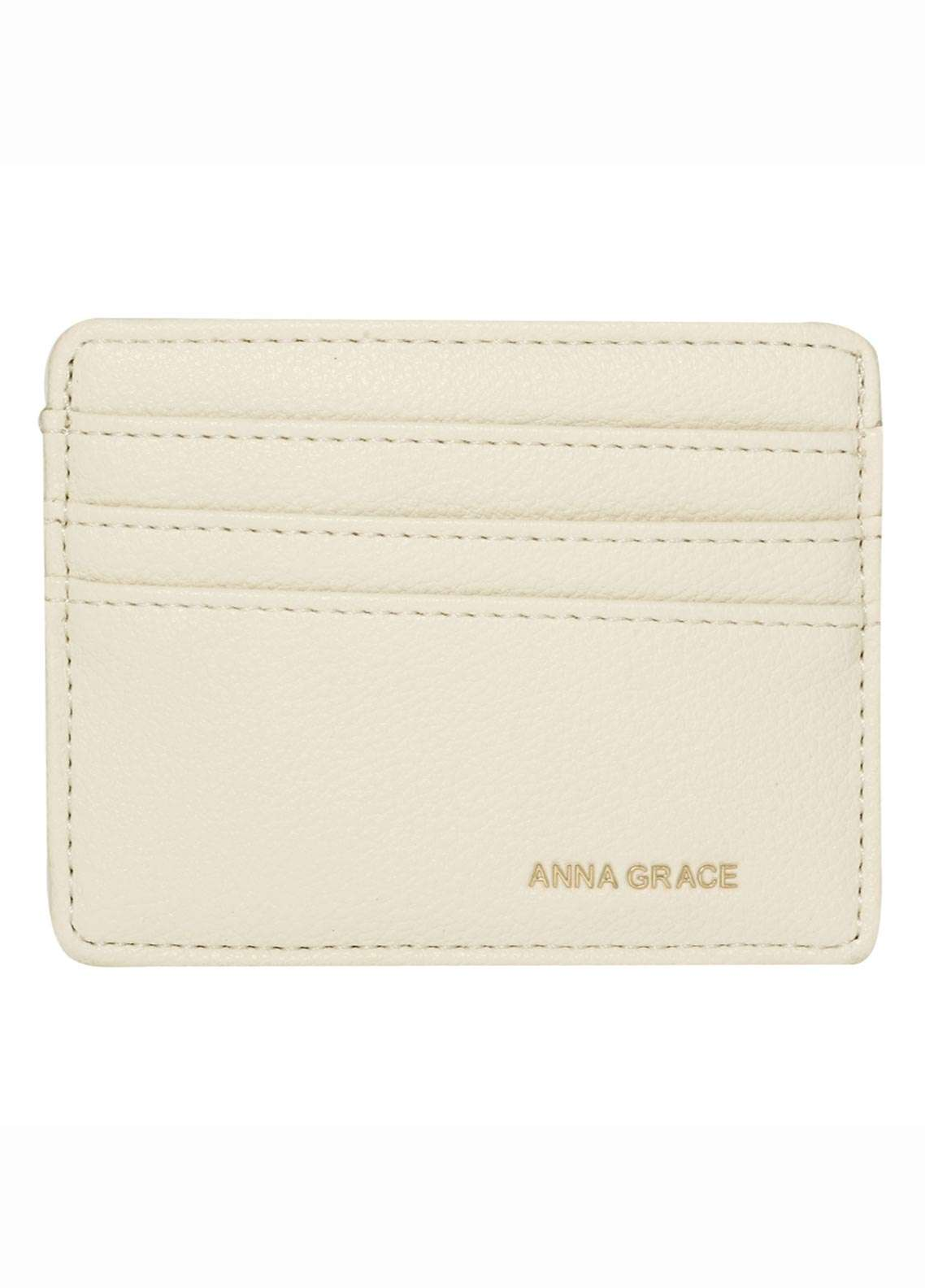Anna Grace London Faux Leather Wallet   for Women  Ivory with Rugged Texture