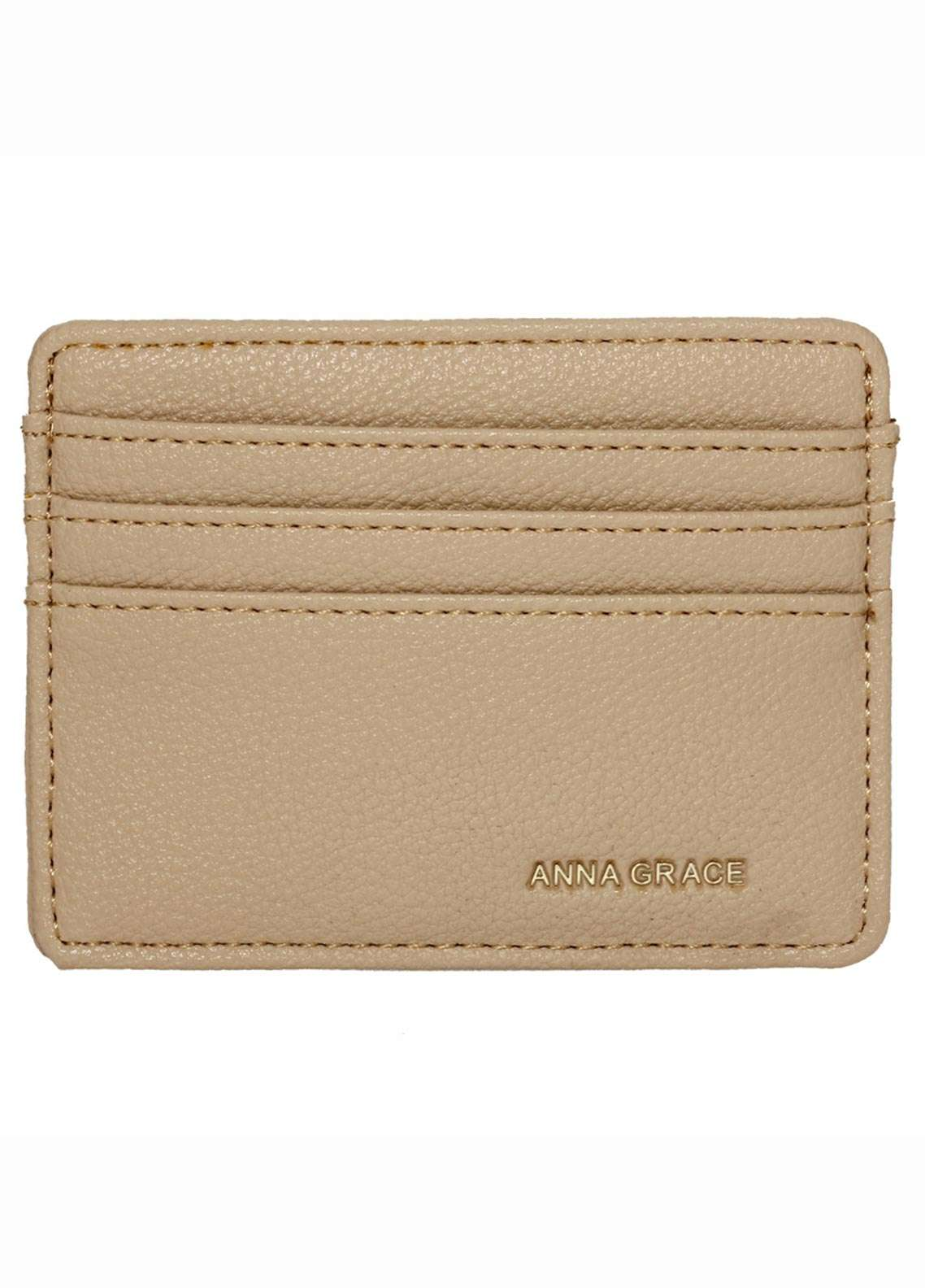 Anna Grace London Faux Leather Wallet   for Women  Nude with Rugged Texture
