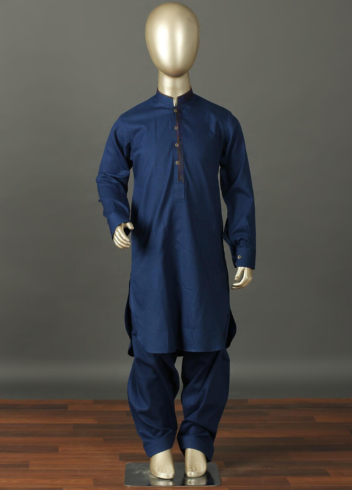 Aizaz Zafar Cotton Formal Kameez Shalwar for Boys -  229 Blue