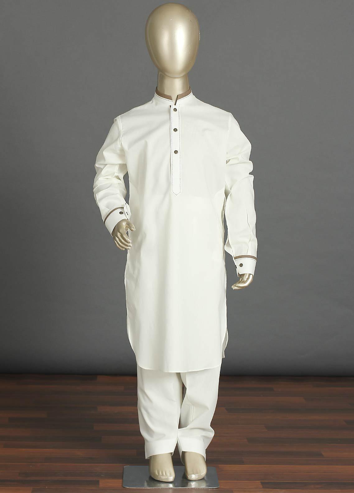 Aizaz Zafar Cotton Formal Kameez Shalwar for Boys - 238 Off White