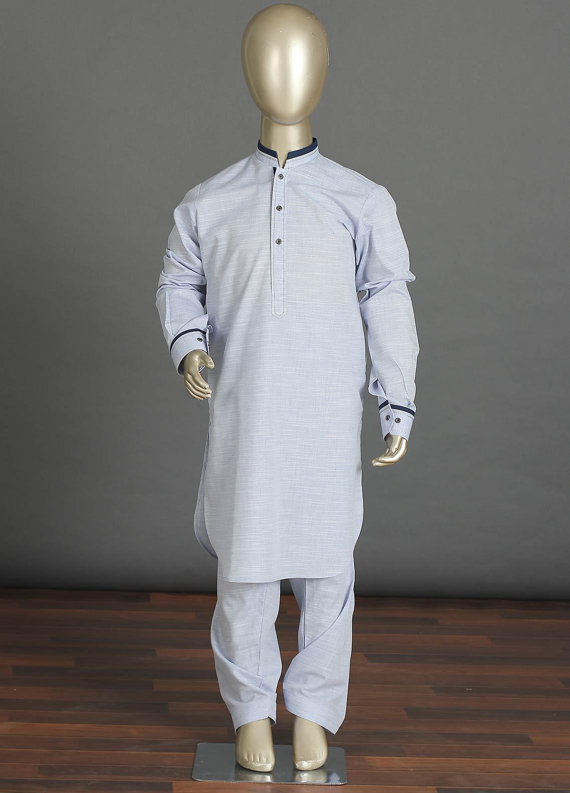 Aizaz Zafar Cotton Formal Boys Kameez Shalwar - 238 Sky Blue