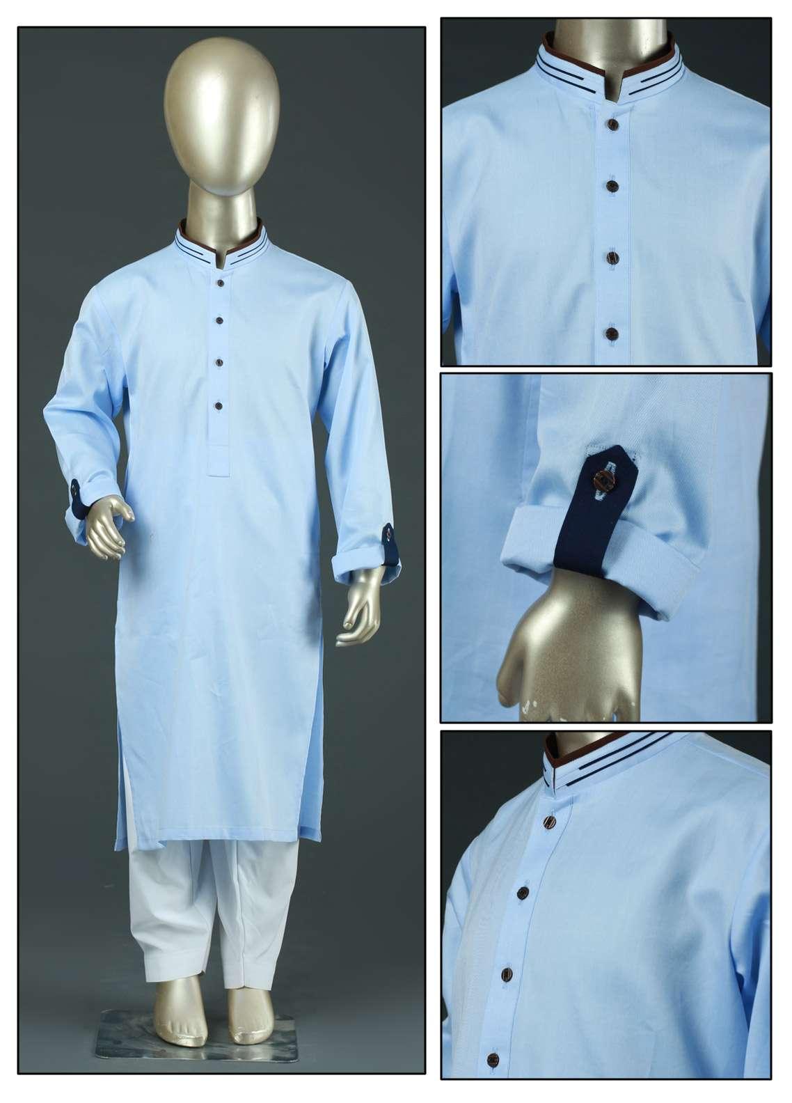 Aizaz Zafar Cotton Formal Boys Kurtas -  AZ19B 220 Blue
