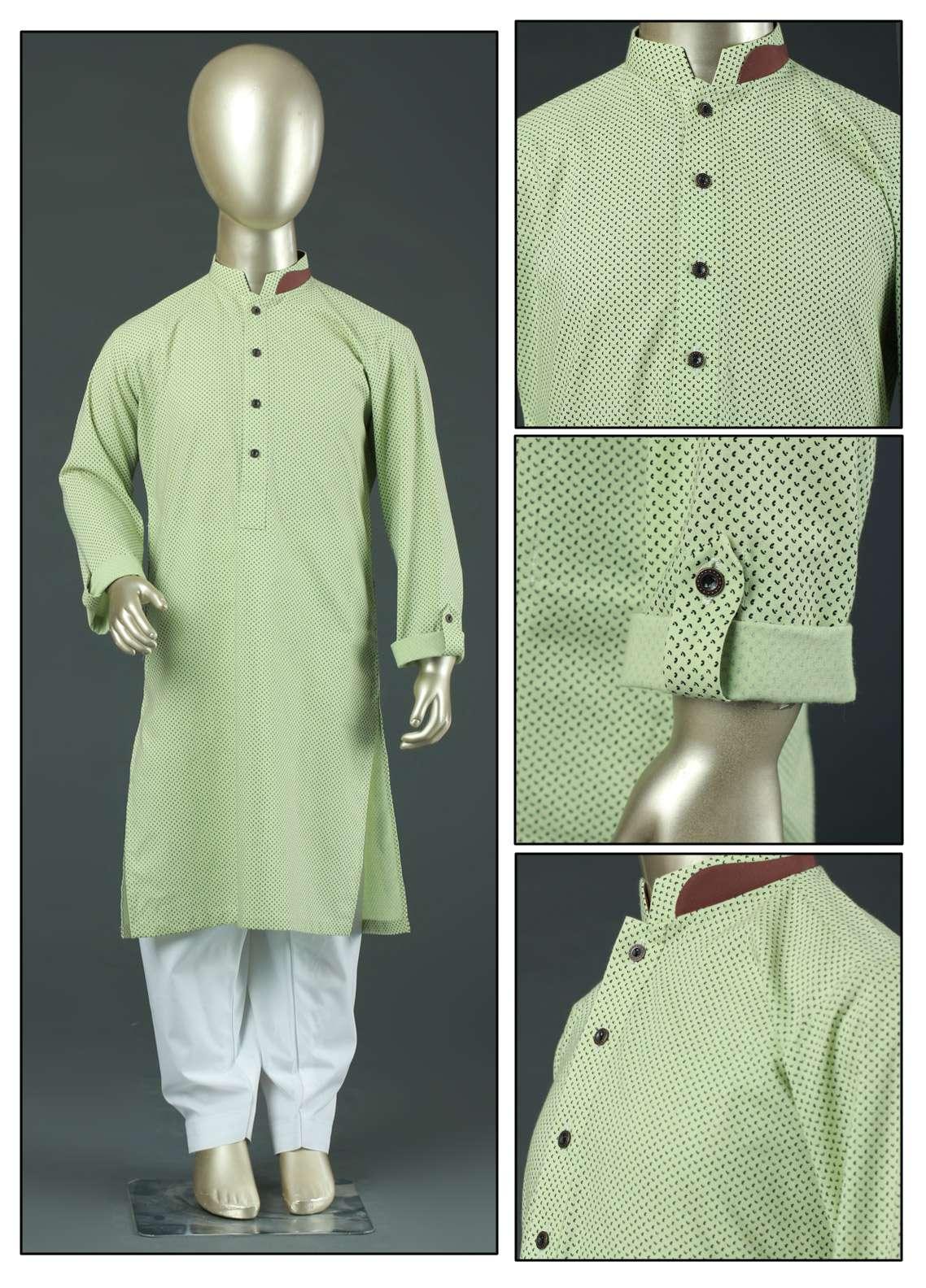Aizaz Zafar Cotton Formal Kurtas for Boys -  AZ19B 220 Lemon
