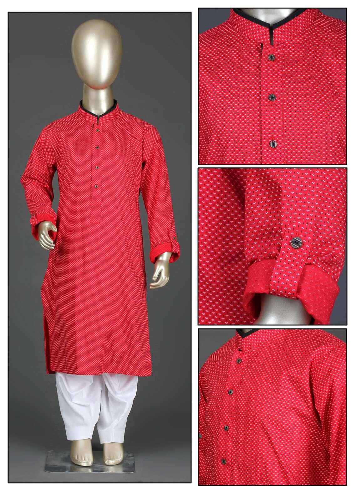 Aizaz Zafar Cotton Formal Boys Kurta Shalwar - AZ19B 220 Red