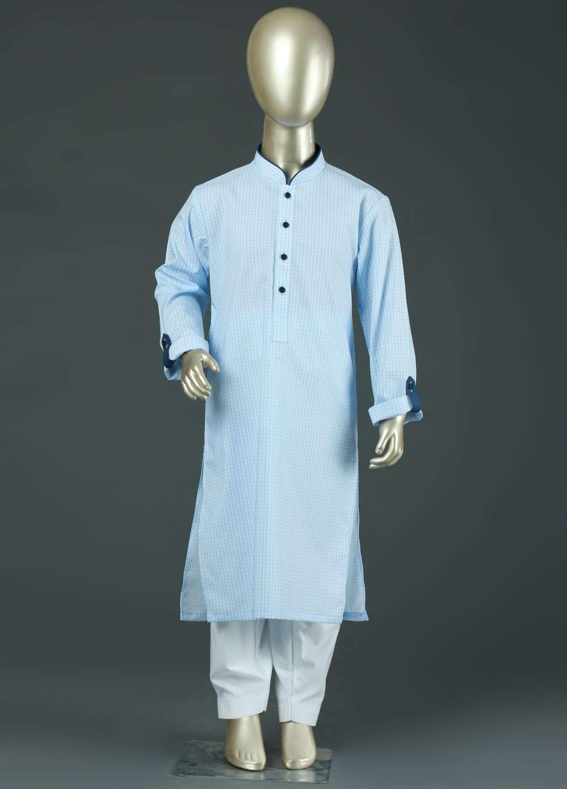 Aizaz Zafar Cotton Formal Boys Kurtas -  AZ19B 220 Sky Blue