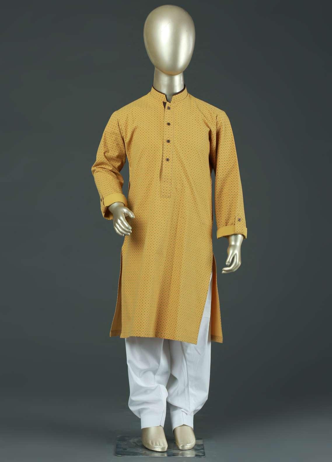 Aizaz Zafar Cotton Formal Kurtas for Boys -  AZ19B 220 Yellow