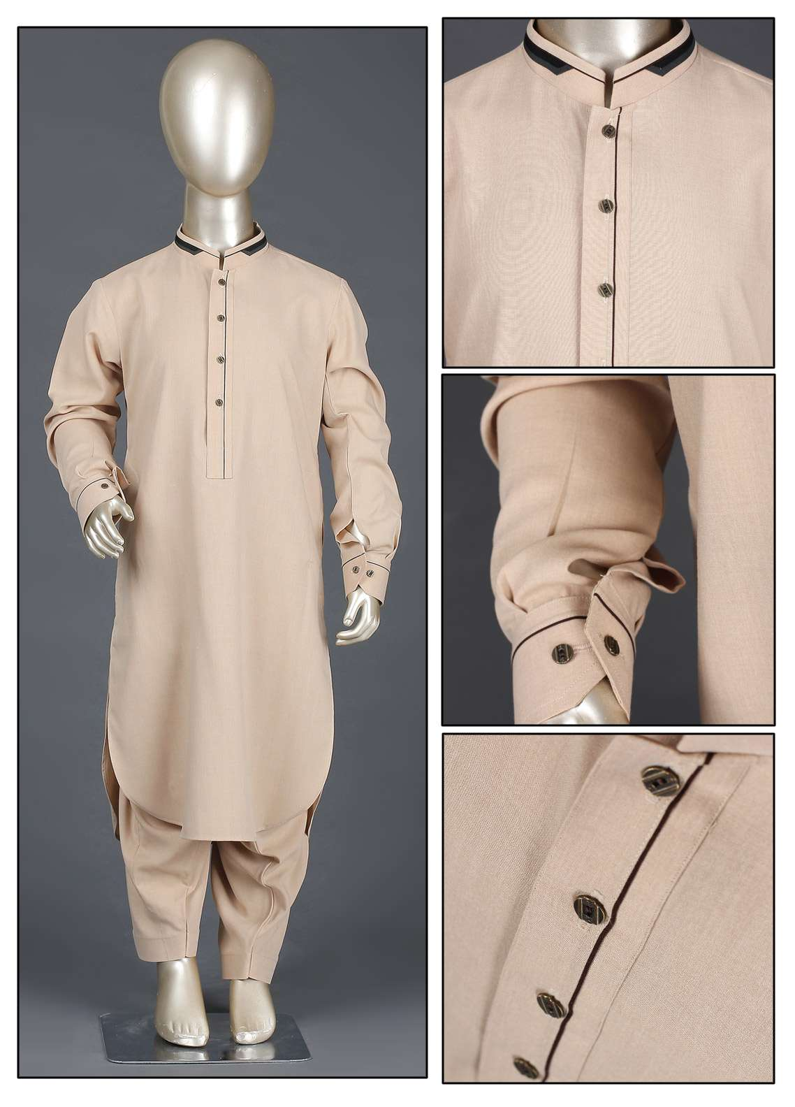 Aizaz Zafar Wash N Wear Formal Kameez Shalwar for Boys - AZ19B 221 Beige
