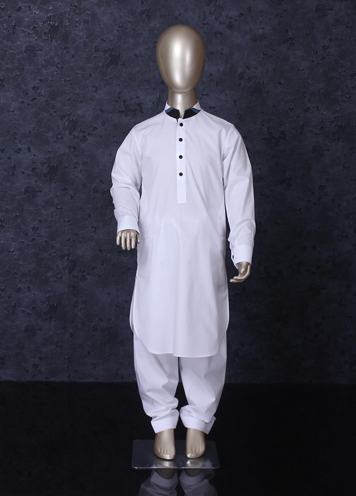 Aizaz Zafar Cotton Formal Boys Kameez Shalwar -  255 White