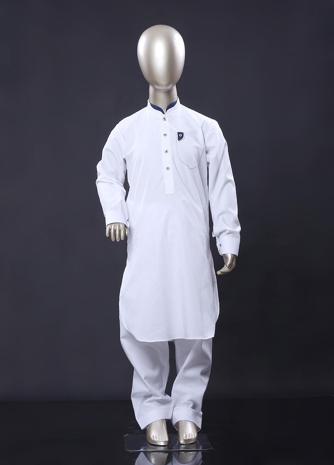 Aizaz Zafar Cotton Formal Kameez Shalwar for Boys -  256 White