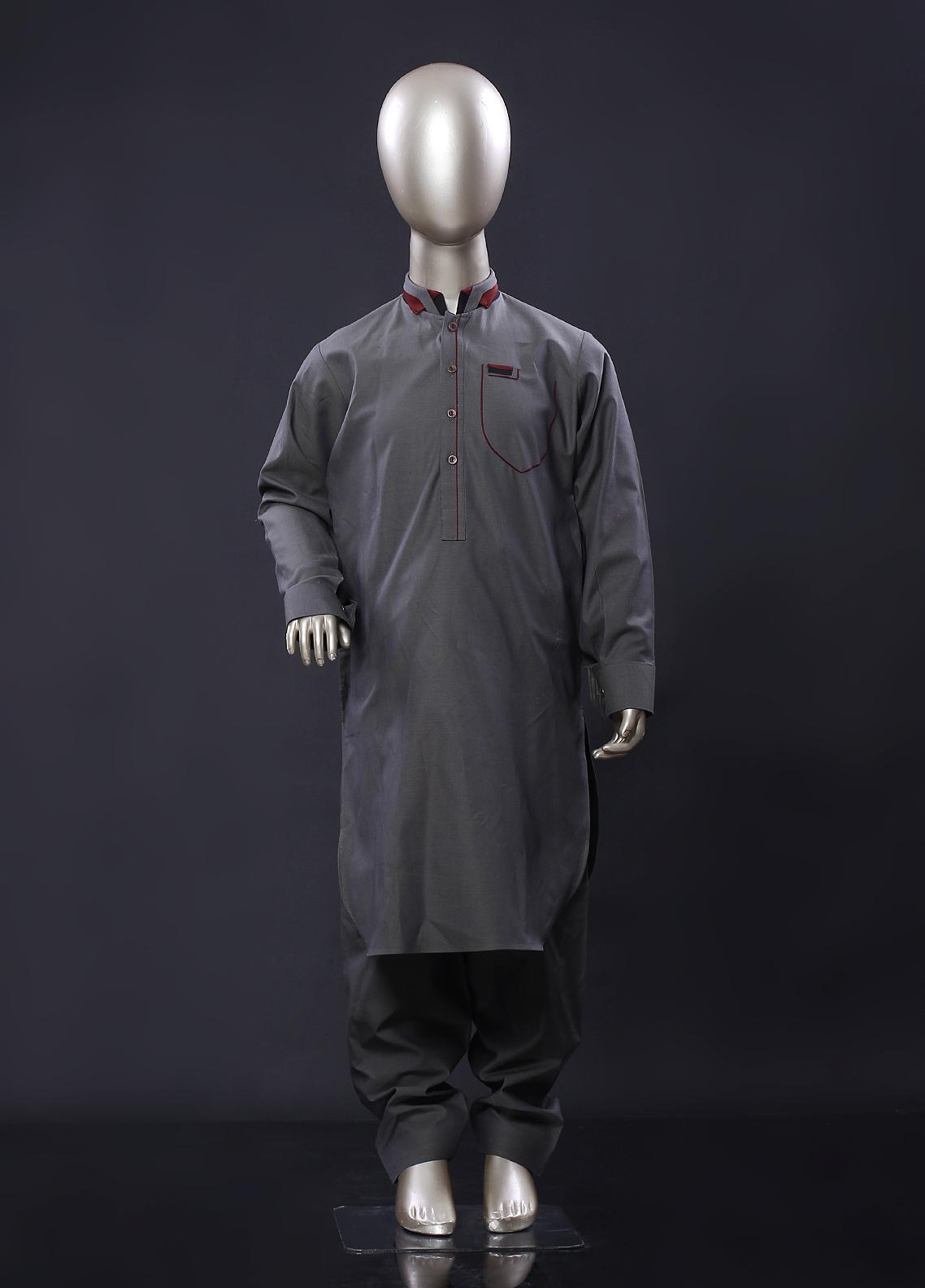 Aizaz Zafar Cotton Formal Boys Kameez Shalwar -  257 Green
