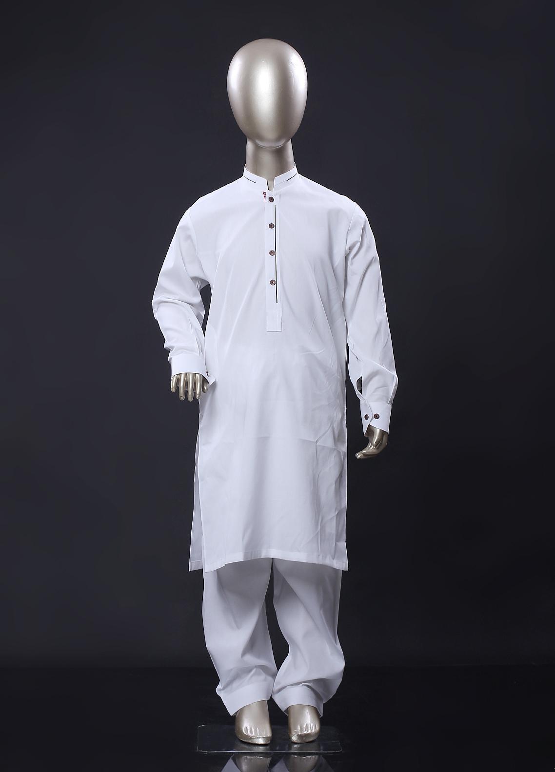 Aizaz Zafar Cotton Formal Kameez Shalwar for Boys -  258 White