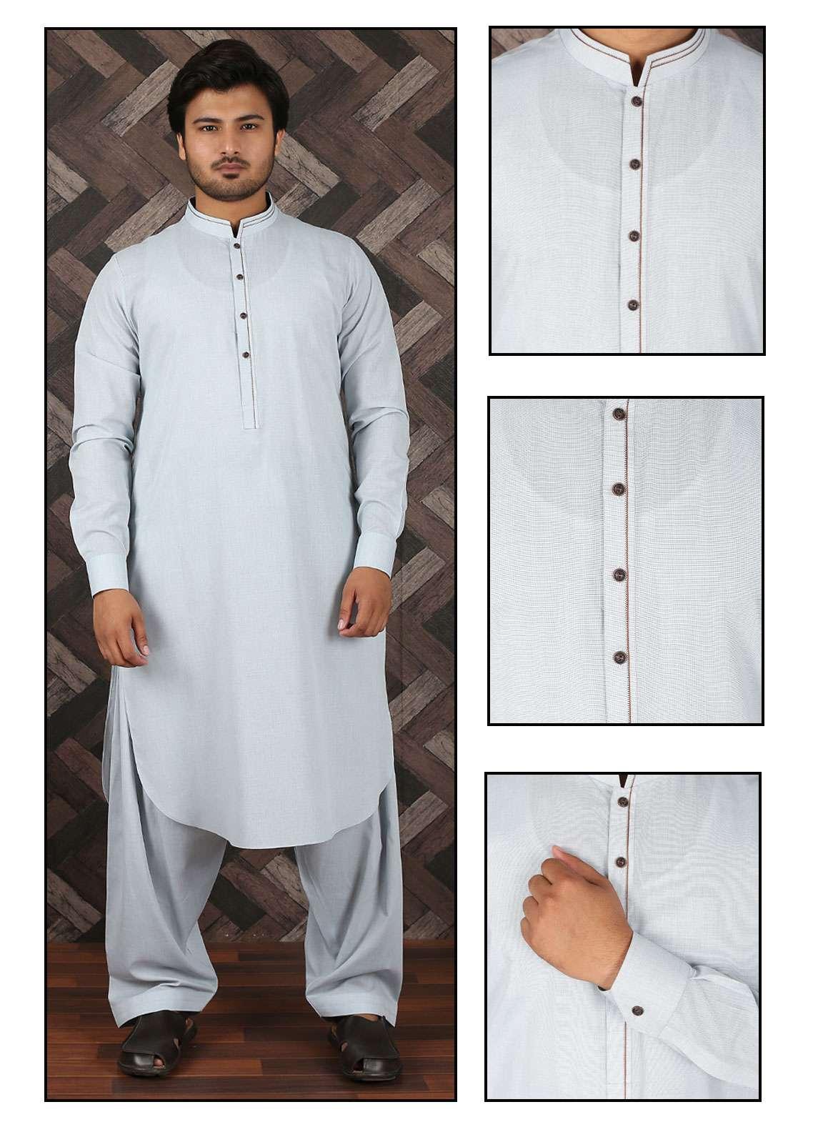 Aizaz Zafar Wash N Wear Formal Shalwar Kameez for Men -  685 Ash White
