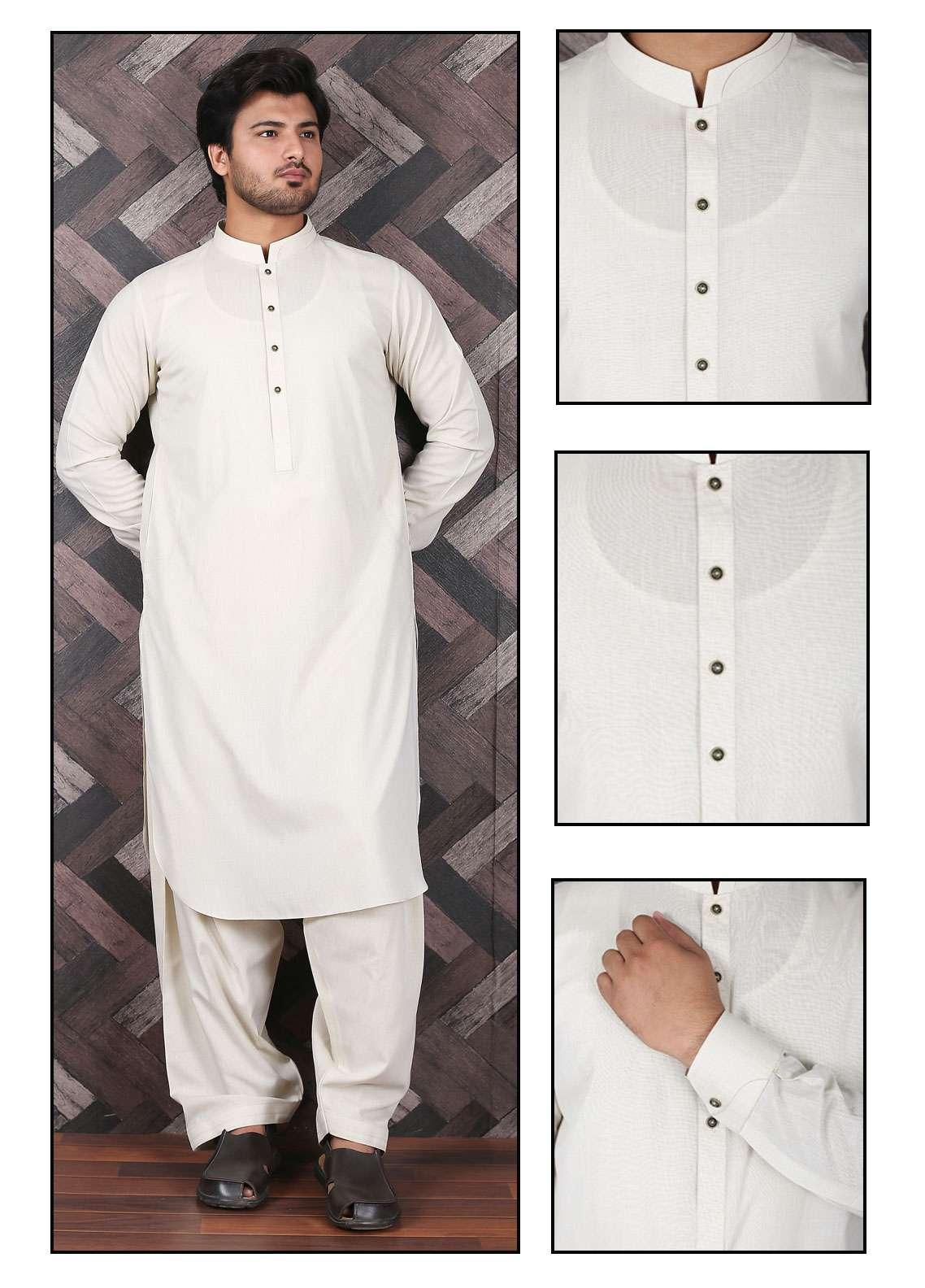 Aizaz Zafar Wash N Wear Formal Men Shalwar Kameez -  685 Beige