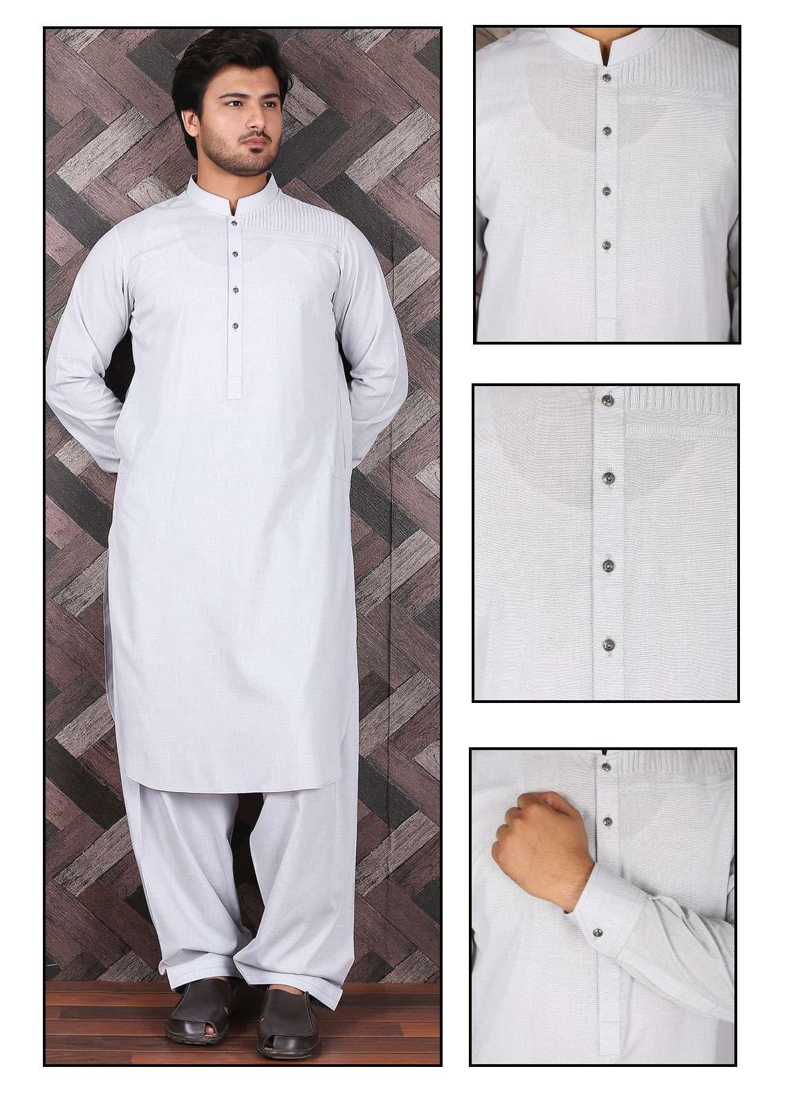 Aizaz Zafar Wash N Wear Formal Men Shalwar Kameez -  685 Grey