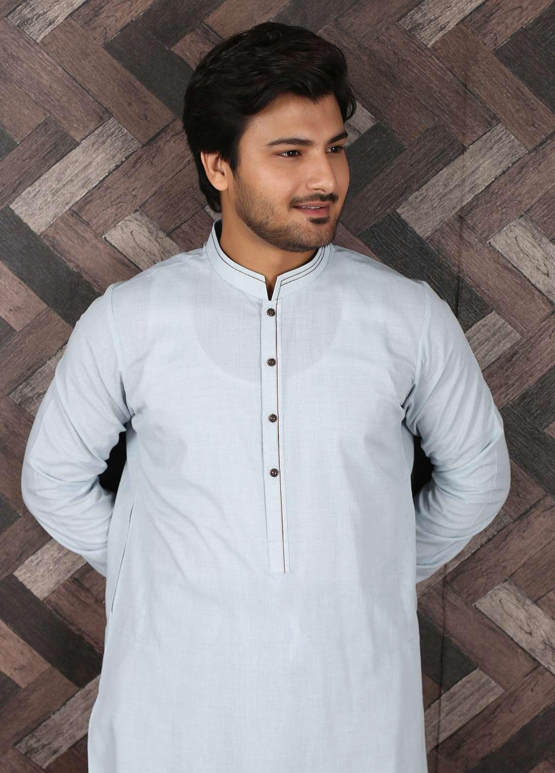 Aizaz Zafar Wash N Wear Formal Shalwar Kameez for Men -  685 Sky Blue