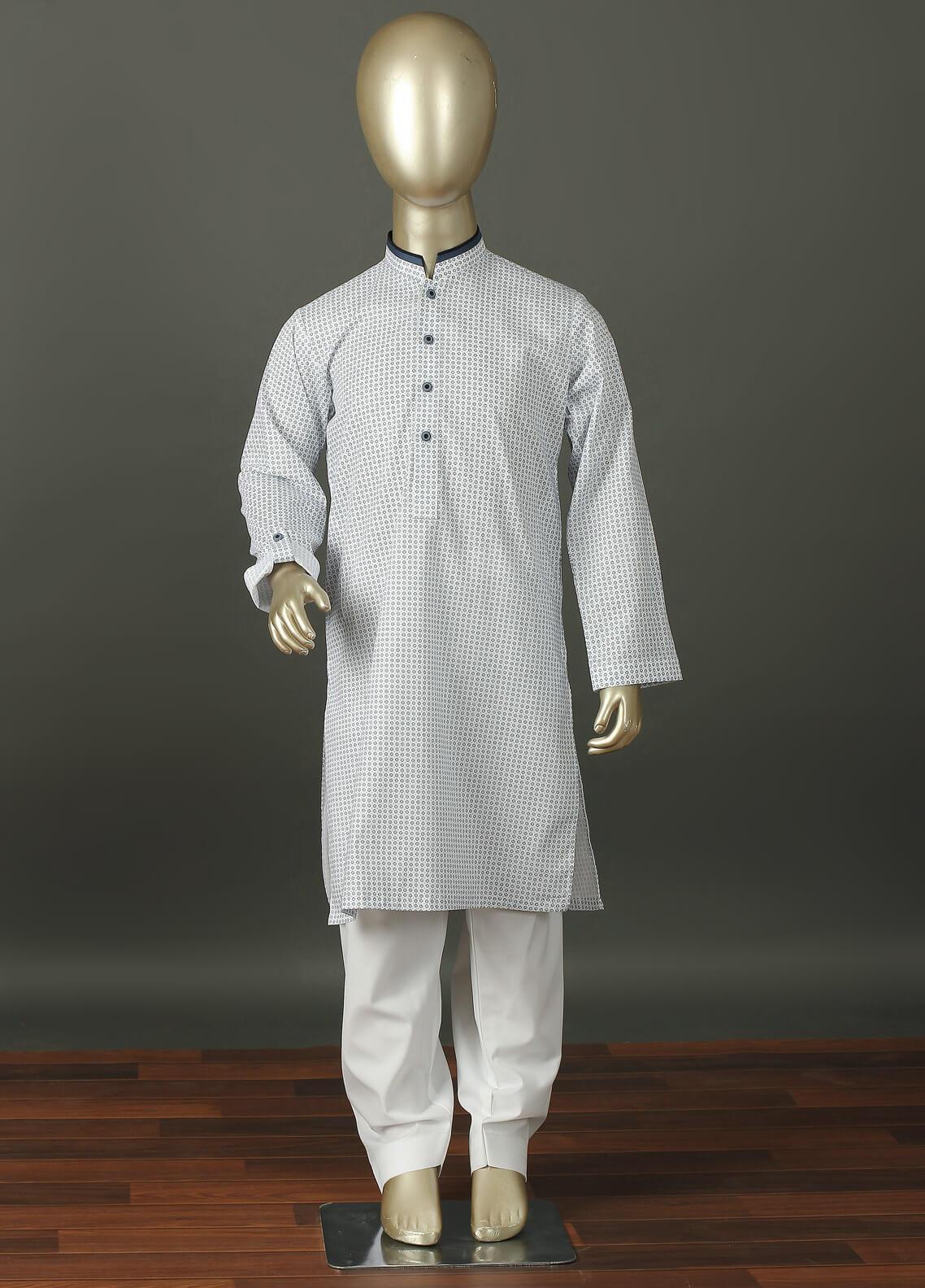 Aizaz Zafar Cotton Formal Kurta Shalwar for Boys -  220 White
