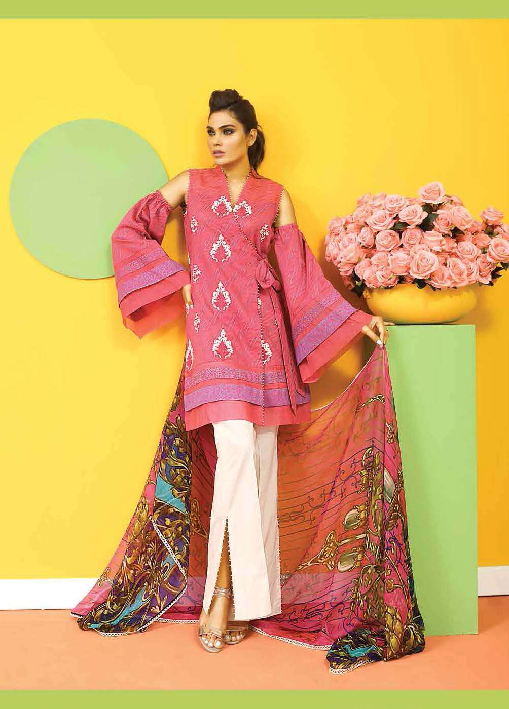 Asim Jofa Embroidered Lawn Unstitched 3 Piece Suit AJ17E 1A