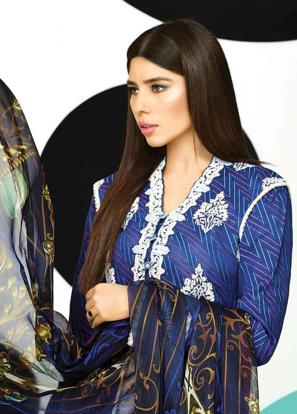 Asim Jofa Embroidered Lawn Unstitched 3 Piece Suit AJ17E 1B