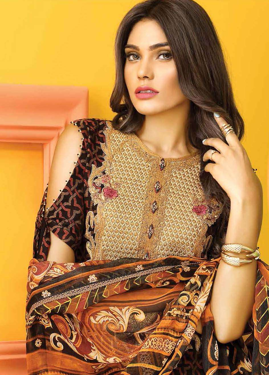 Asim Jofa Embroidered Lawn Unstitched 3 Piece Suit AJ17E 2A