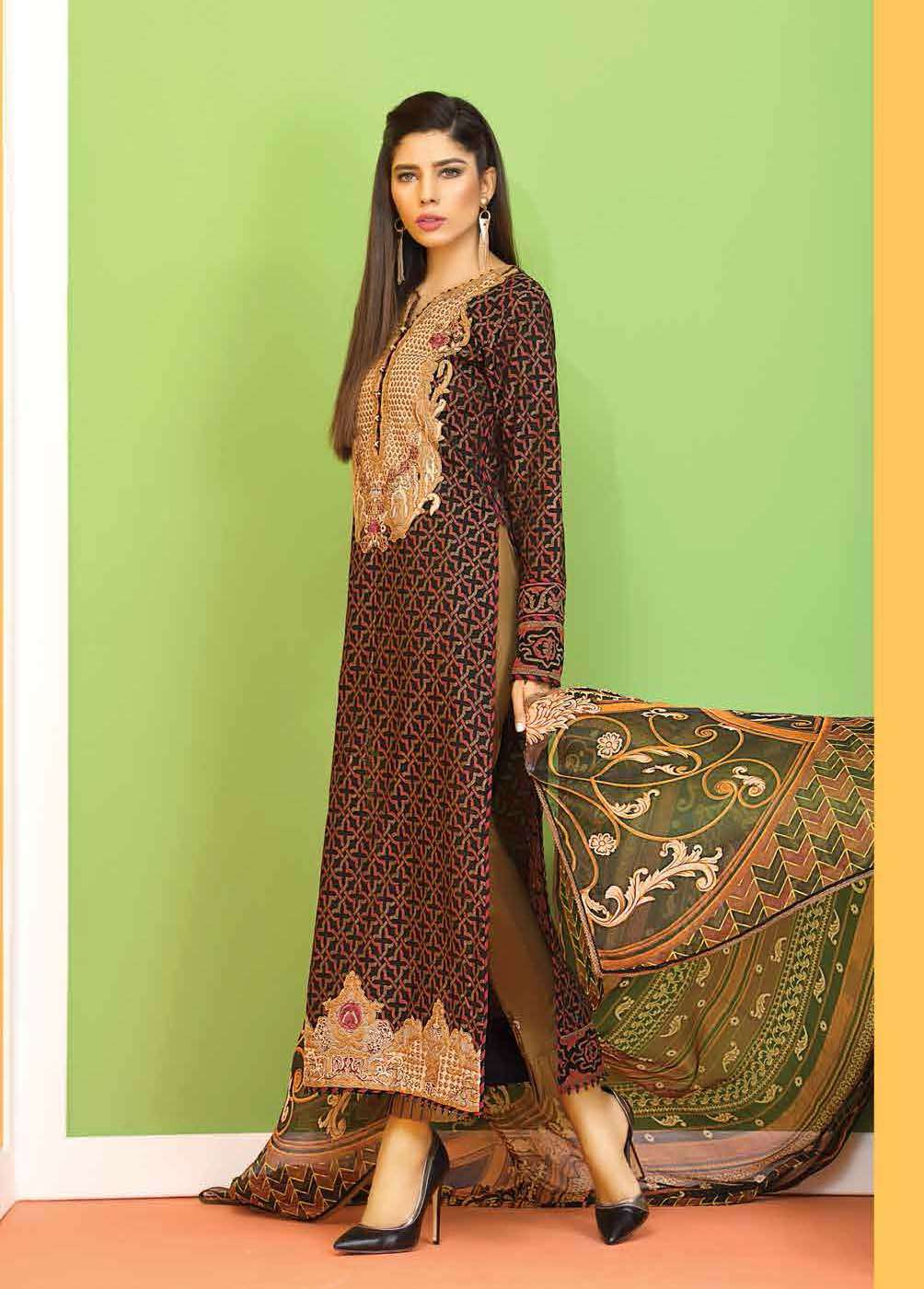 Asim Jofa Embroidered Lawn Unstitched 3 Piece Suit AJ17E 2B