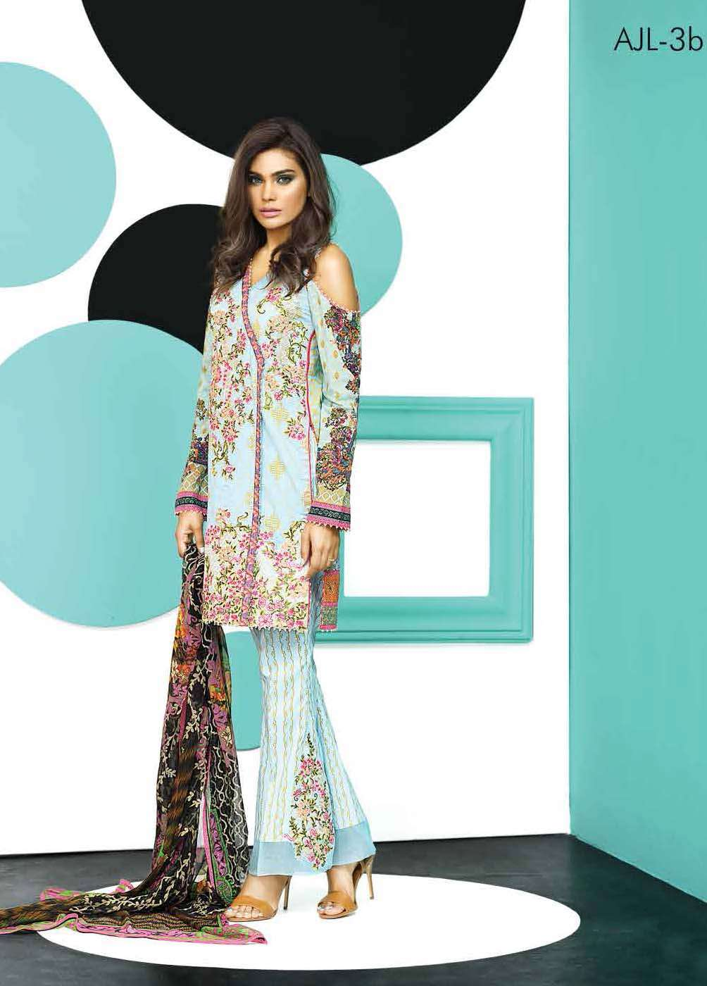 Asim Jofa Embroidered Lawn Unstitched 3 Piece Suit AJ17E 3B