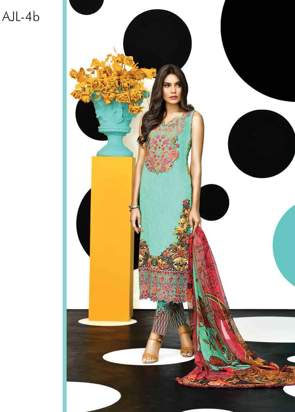 Asim Jofa Embroidered Lawn Unstitched 3 Piece Suit AJ17E 4B