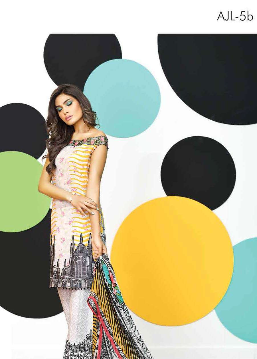 Asim Jofa Embroidered Lawn Unstitched 3 Piece Suit AJ17E 5B