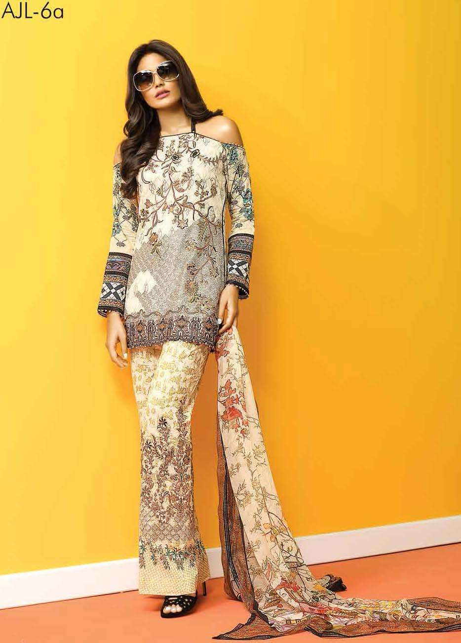 Asim Jofa Embroidered Lawn Unstitched 3 Piece Suit AJ17E 6A