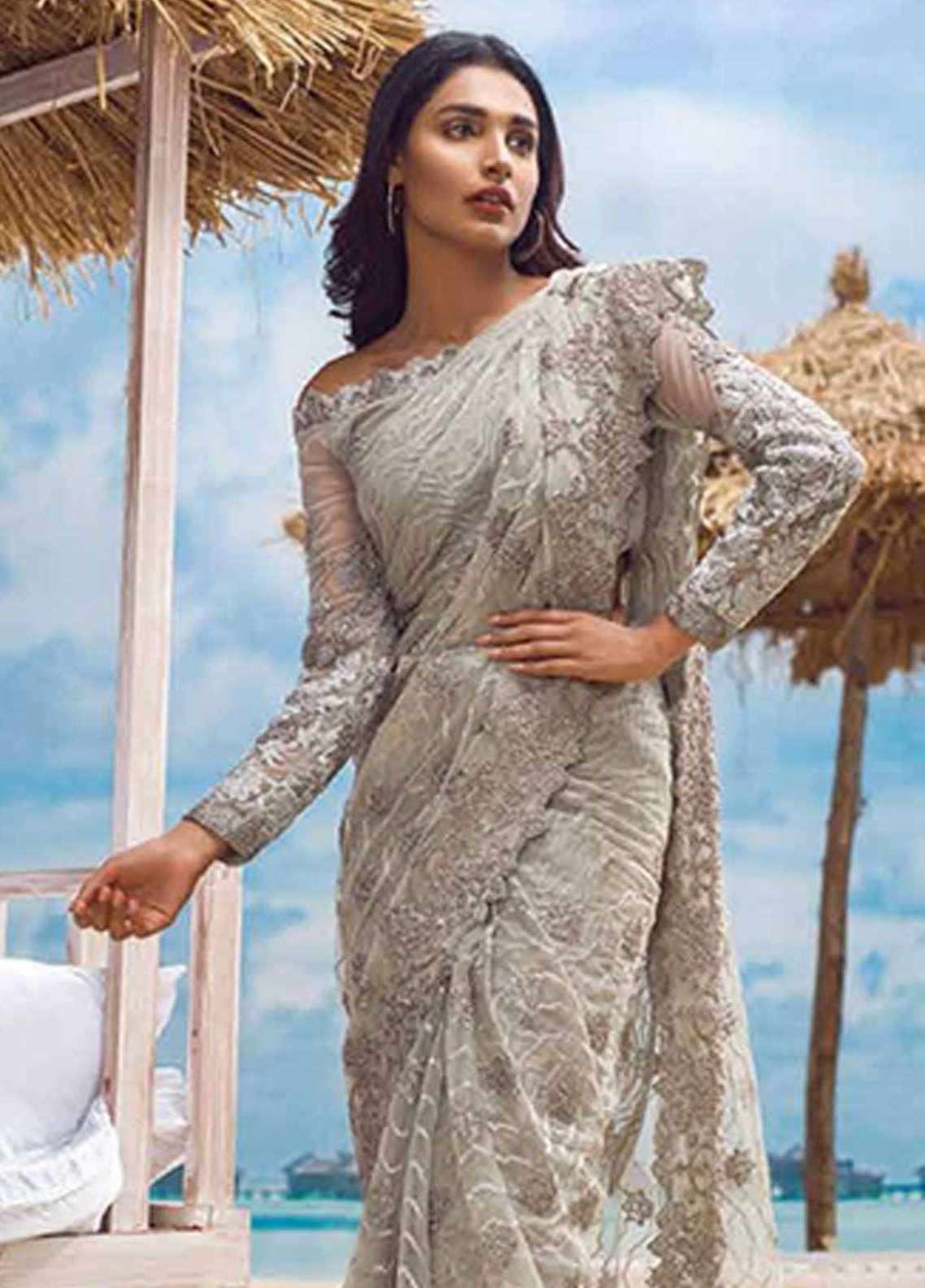 Asim Jofa Embroidered Chiffon Unstitched Saree AJ18E 6A - Eid Collection