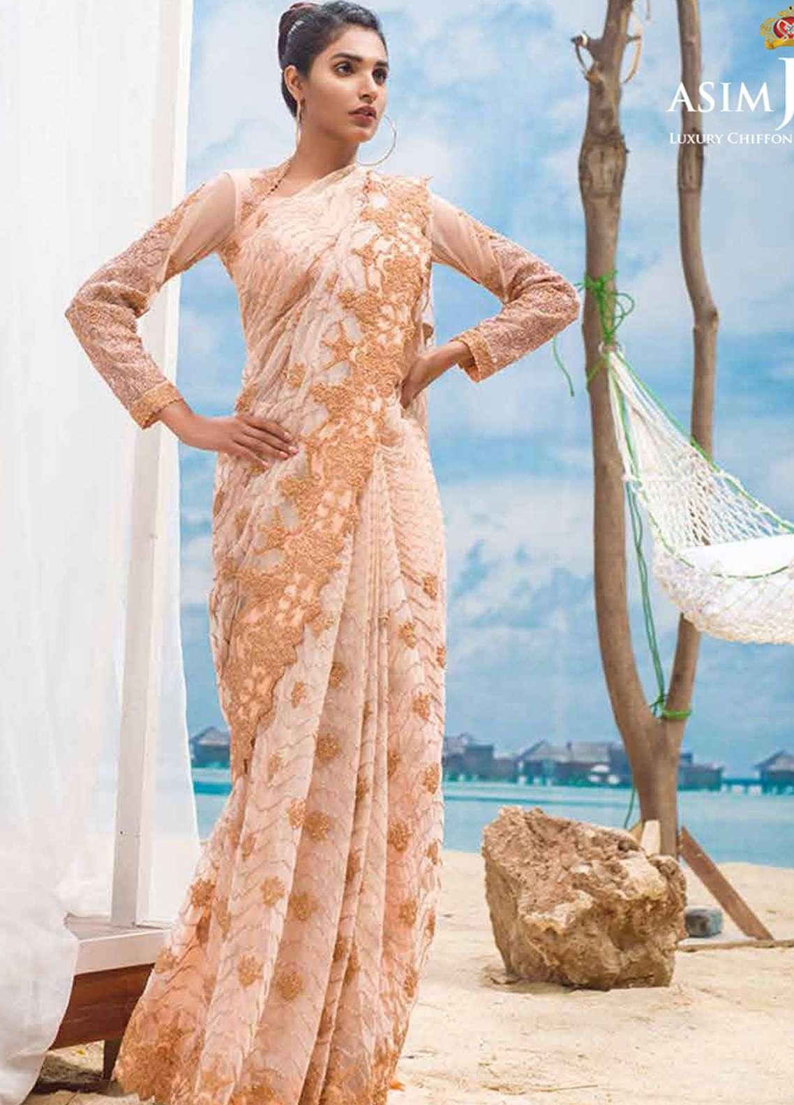 Asim Jofa Embroidered Chiffon Unstitched Saree AJ18E 6B - Eid Collection