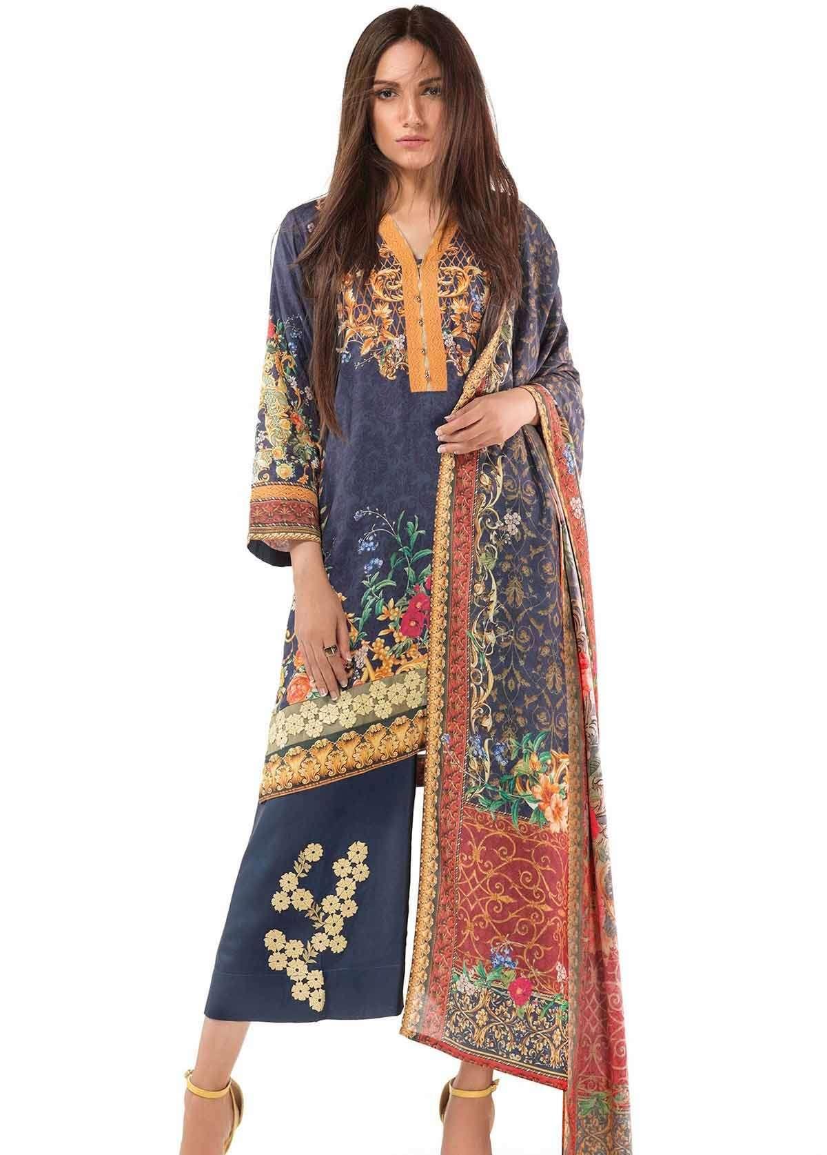 Al Karam Embroidered Linen Unstitched 2 Piece Suit AK17W 56 Blue
