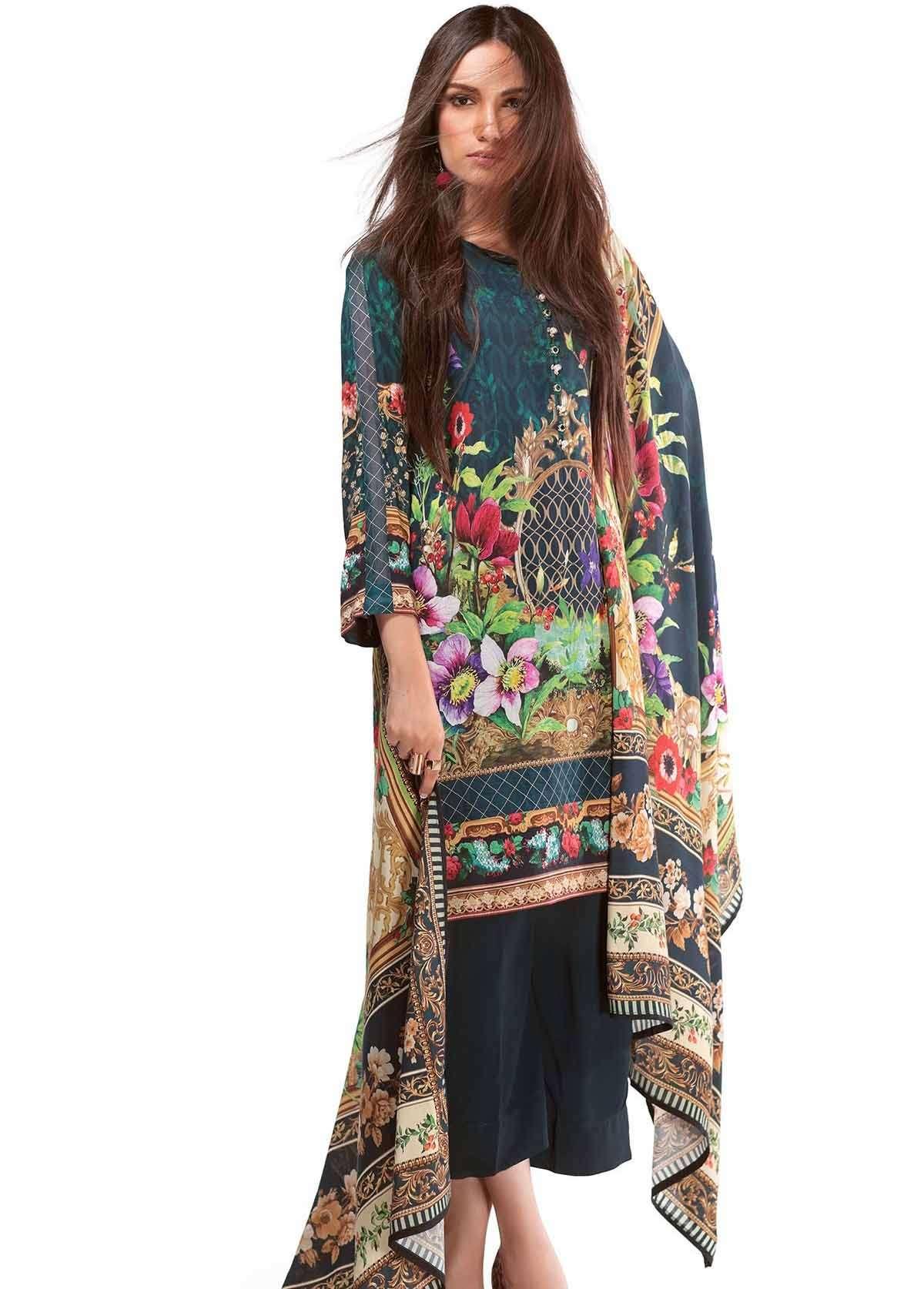 Al Karam Embroidered Linen Unstitched 2 Piece Suit AK17W 57 Green
