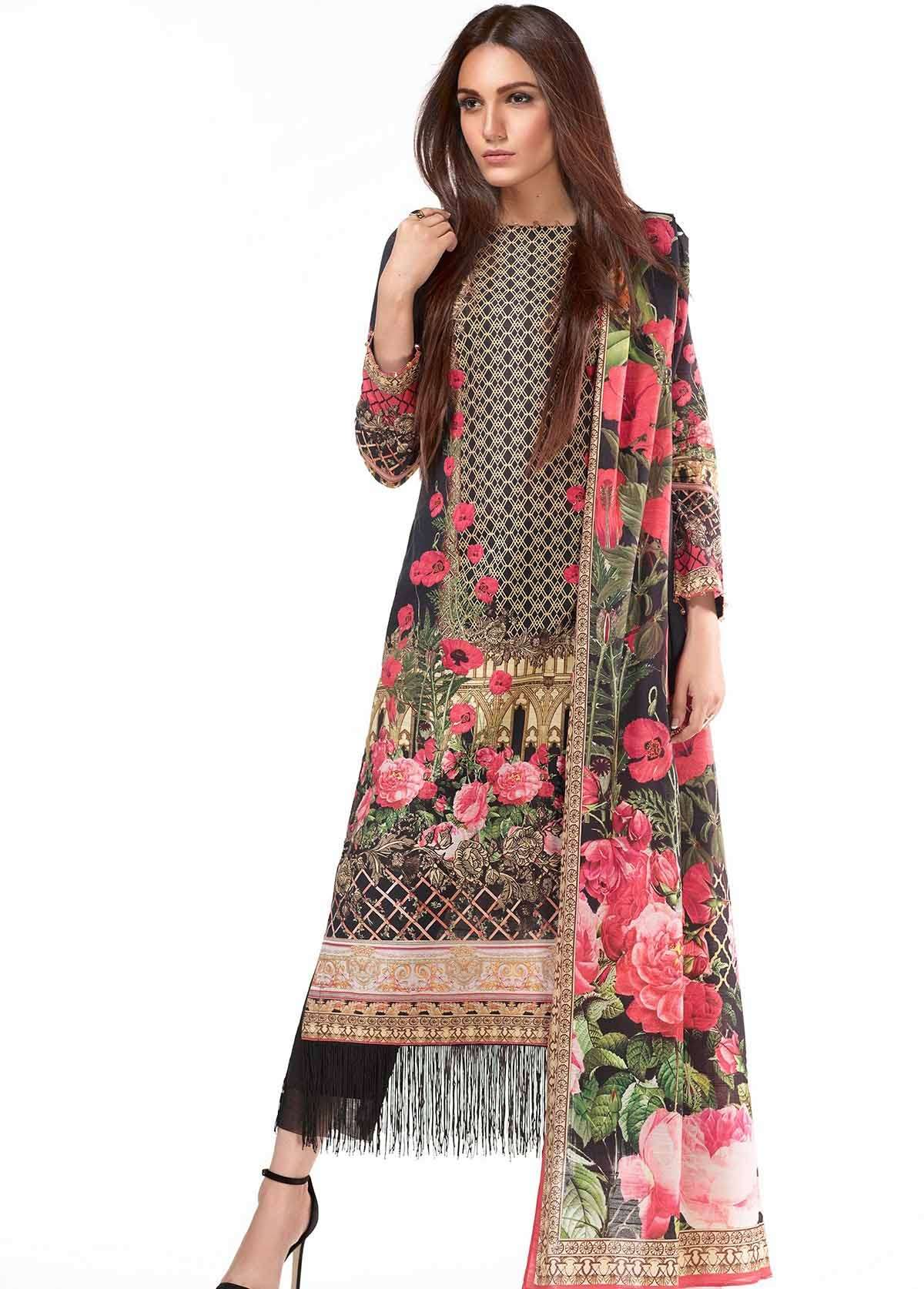 Al Karam Embroidered Linen Unstitched 2 Piece Suit AK17W 59 Black
