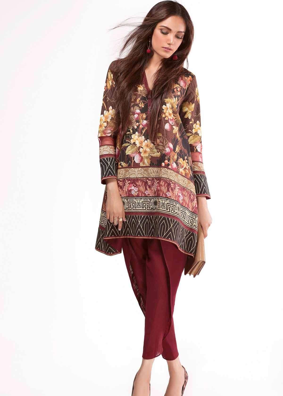 Al Karam Embroidered Linen Unstitched 2 Piece Suit AK17W 61 Brown