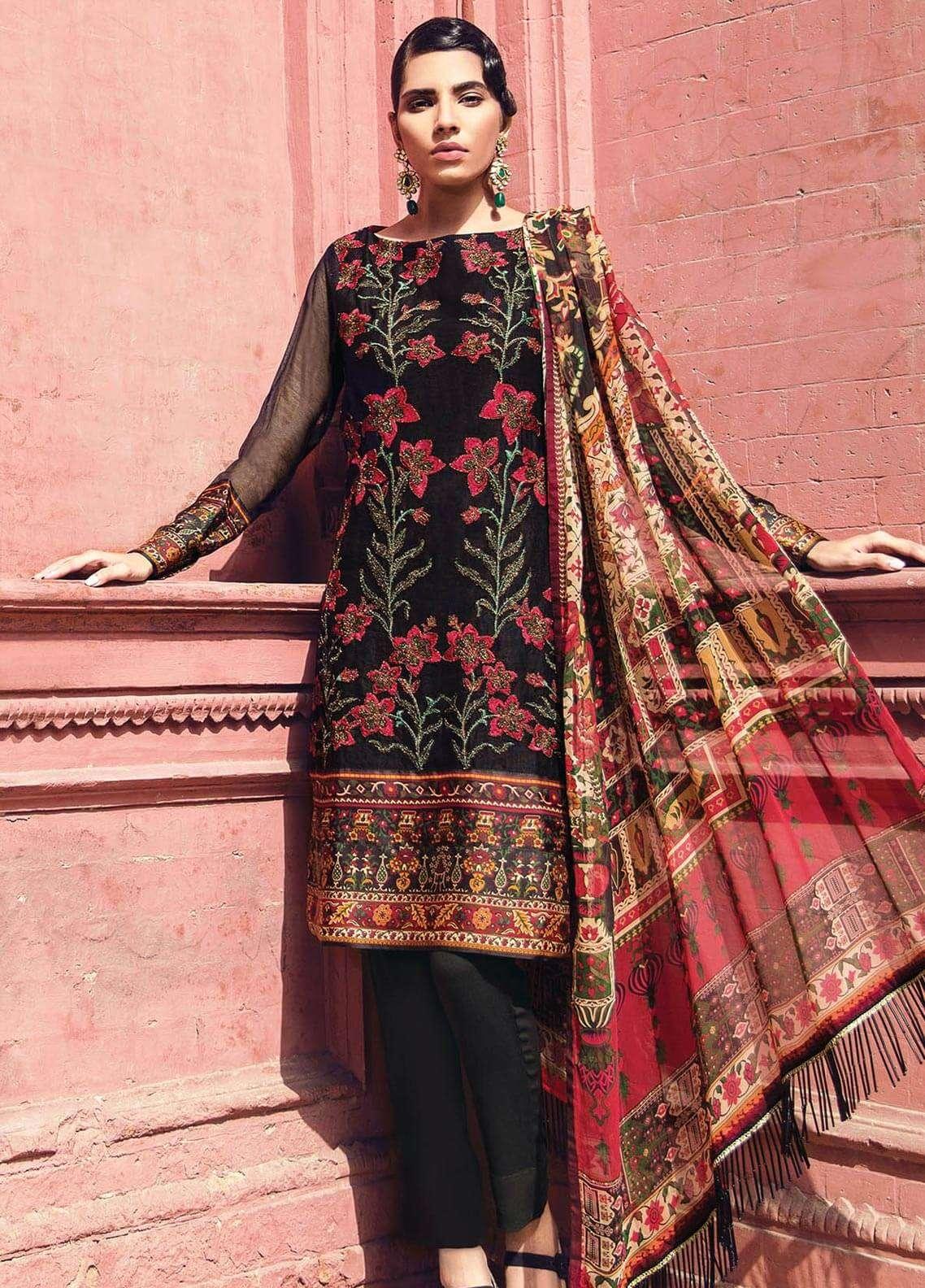 Al Karam Embroidered Silk Net Unstitched 3 Piece Suit AK18F 04 - Festive Collection