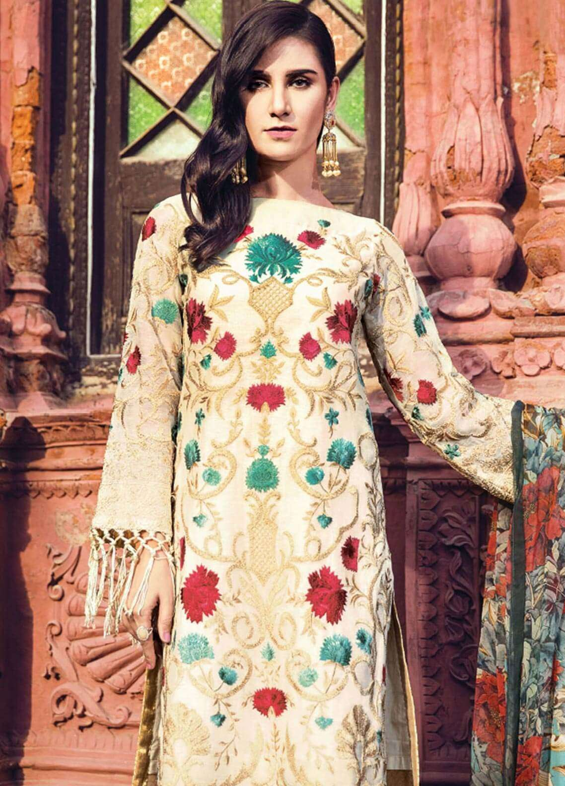 Al Karam Embroidered Silk Net Unstitched 3 Piece Suit AK18F 07 - Festive Collection