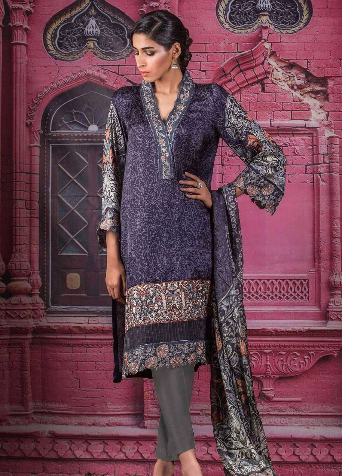 Al Karam Embroidered Charmeuse Unstitched 3 Piece Suit AK18F 08 - Festive Collection