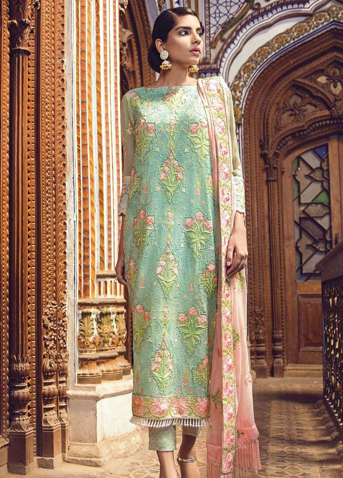e15fb63460 Al Karam Embroidered Chiffon Unstitched 3 Piece Suit AK18F 13 - Festive  Collection