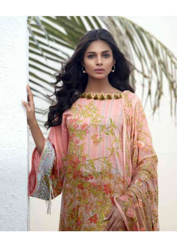 8f7220287a Al Karam Embroidered Lawn Unstitched 3 Piece Suit AK18L SS-01 PEACH -  Spring / Summer Collection