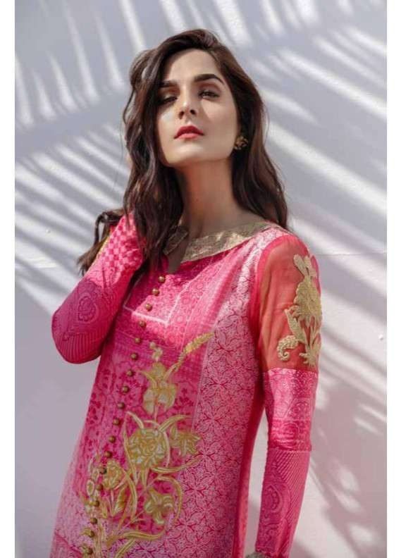 1a78c647ae Al Karam Embroidered Lawn Unstitched 3 Piece Suit AK18L SS-04 PINK - Spring  / Summer Collection