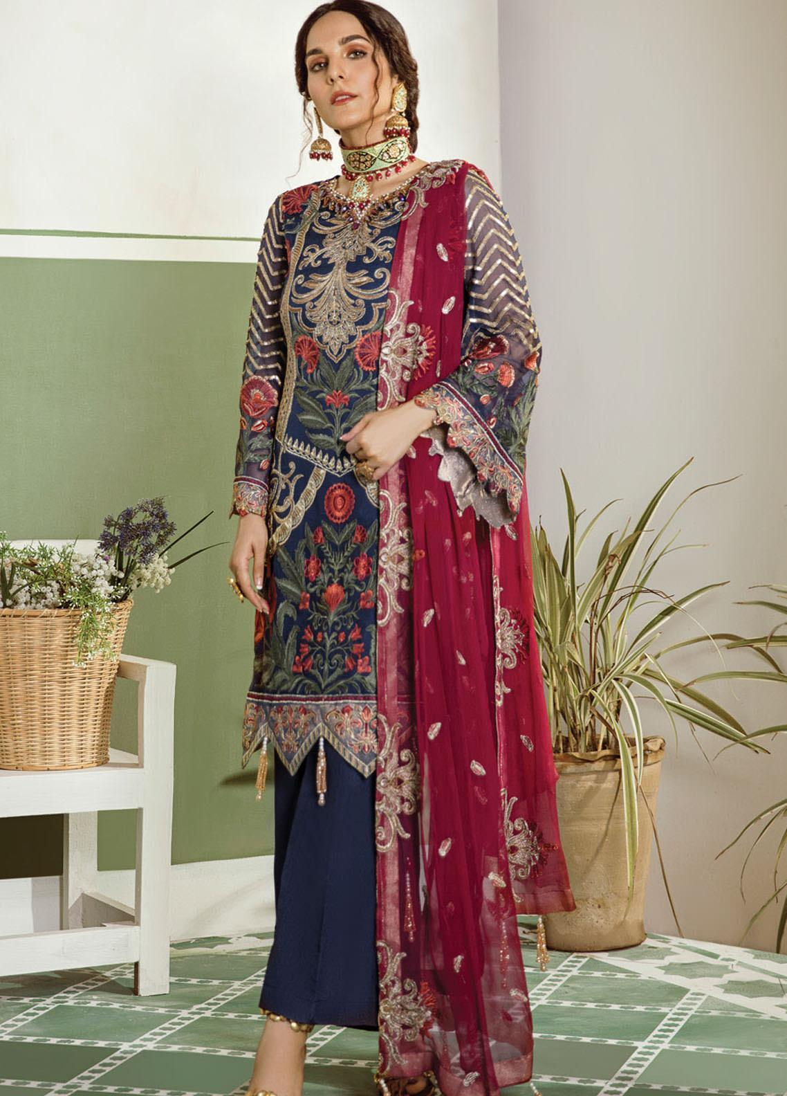 Akbar Aslam Embroidered Chiffon Unstitched 3 Piece Suit AA20WD 2307 - Wedding Collection