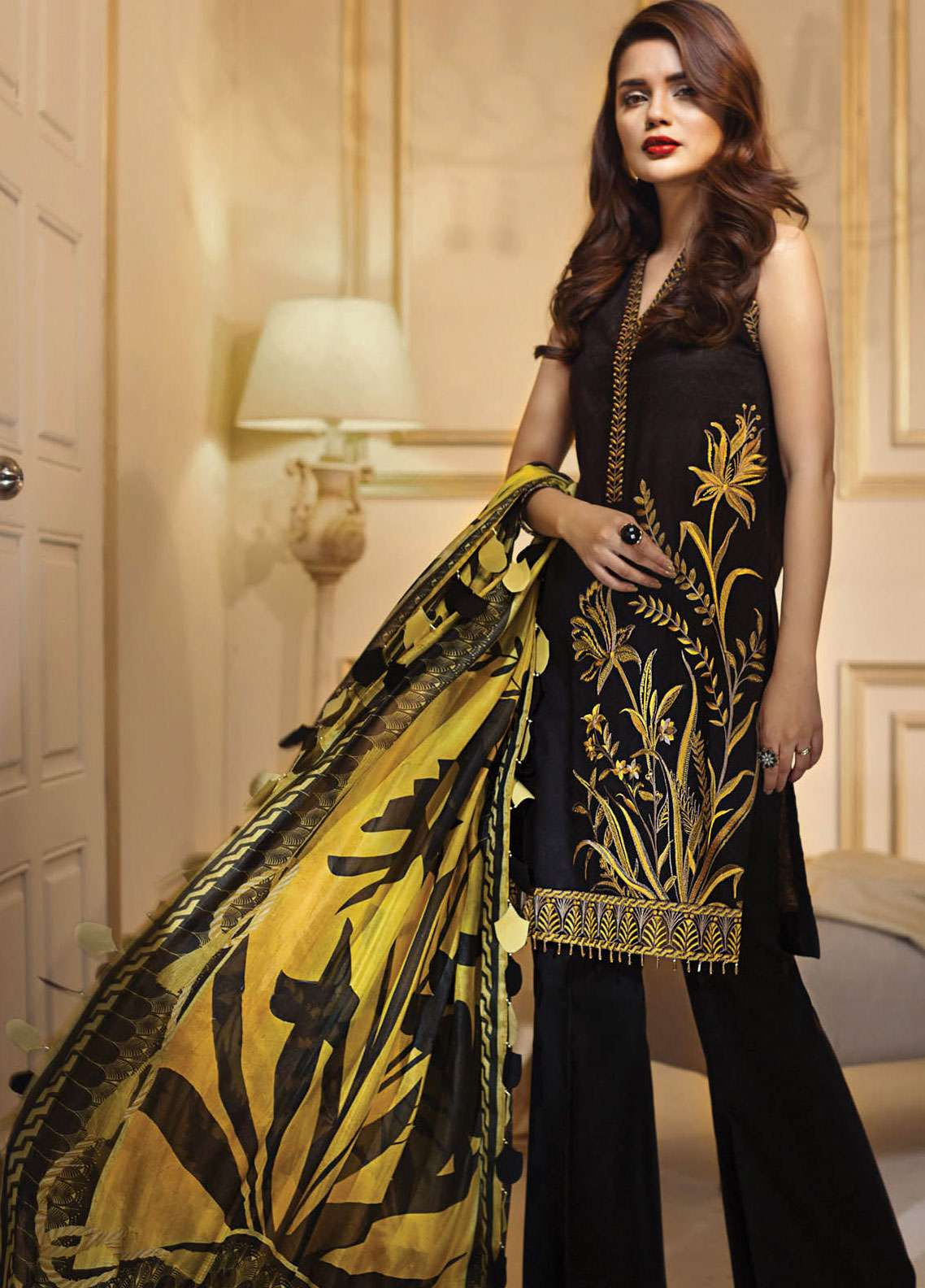 e979e4699f Anaya by Kiran Chaudhry Embroidered Jacquard Unstitched 3 Piece Suit AKC18F  09 MIDSUMMER SUNSET - Eid Collection