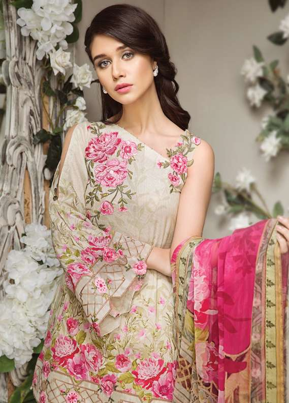 f0dd715b7d Anaya by Kiran Chaudhry Embroidered Lawn Unstitched 3 Piece Suit AKC18L 09  - Spring / Summer