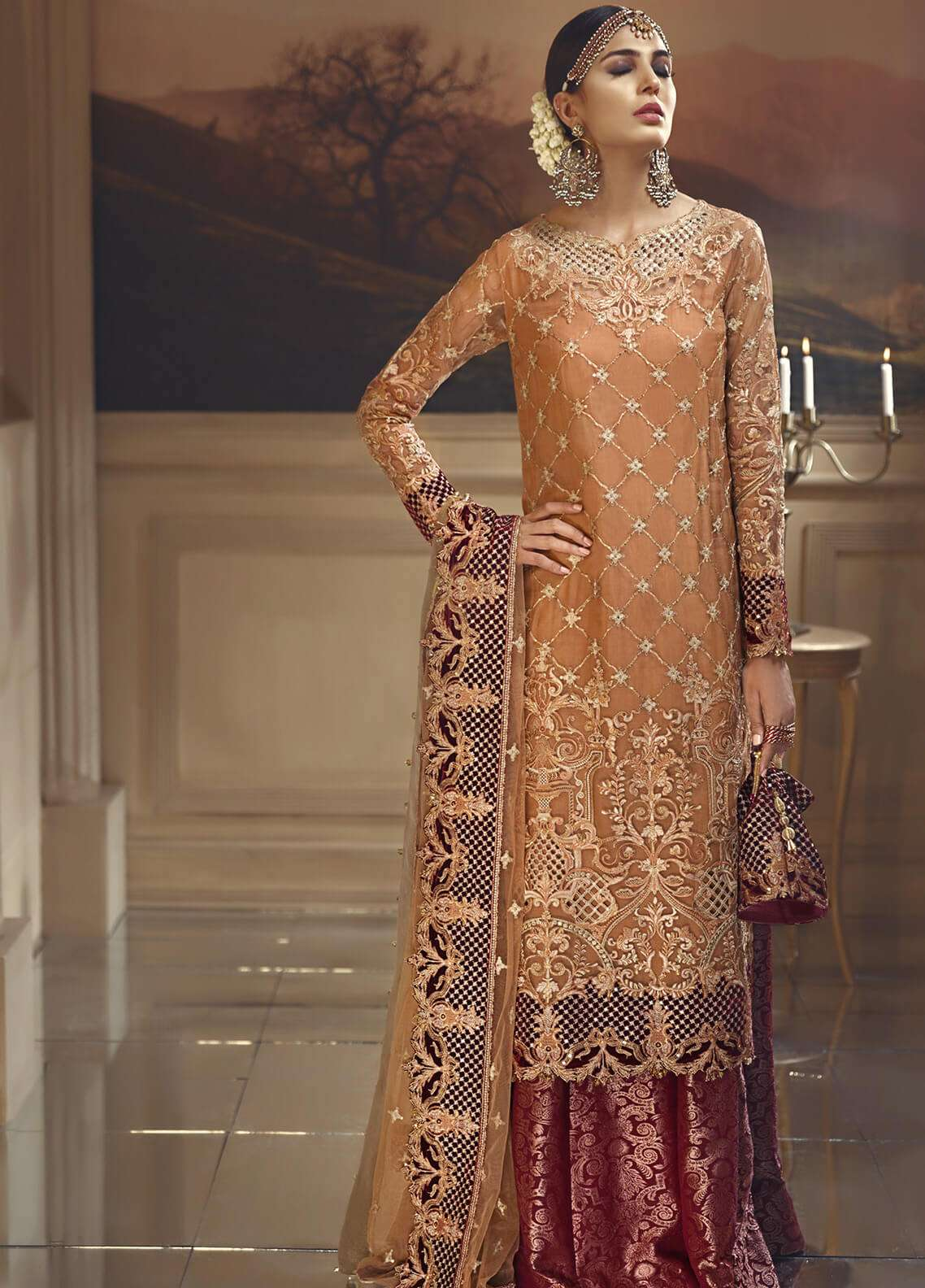 Anaya by Kiran Chaudhry Embroidered Organza Unstitched 3 Piece Suit AKC18W 01 - Wedding Edition