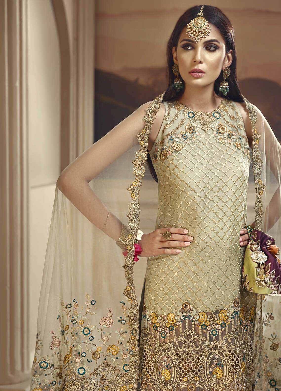 Anaya by Kiran Chaudhry Embroidered Organza Unstitched 3 Piece Suit AKC18W 03 - Wedding Edition